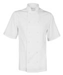 White Short Sleeve Stud Fasten Chefs Jacket
